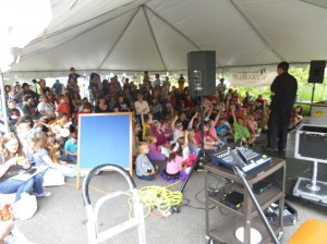 A full tent for the Imagination Celebration outside of the Olympia Timberland Library.  Thanks to Mike Culley for sharing the photo.