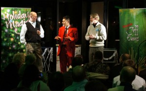 Company execs become part of Jeff Evans' Holiday Magic Show at the Videx holiday party