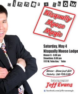 See Jeff in person at one of three public performances in the south sound area on Saturday, May 4
