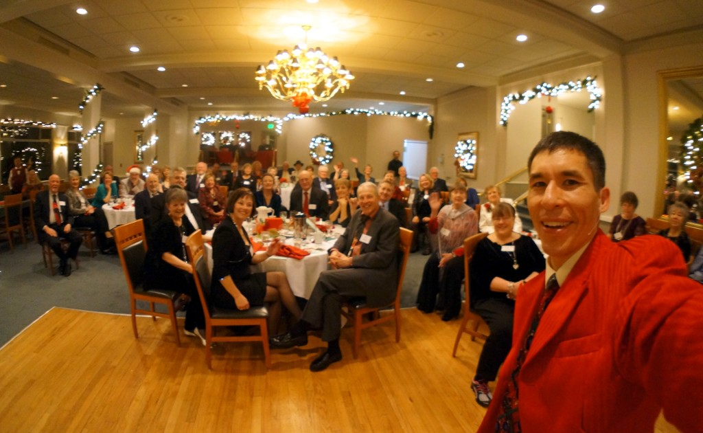 Magician Jeff Evans entertains for a holiday banquet at the Olympia Country and Golf Club