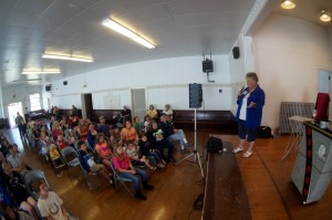 Egg Days Director Nettie gets the party started at the Winlock Community Center