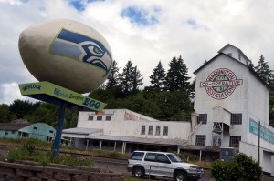 "The ""World's Largest Egg"" in Winlock, Washington has a distinctly ""hawkish"" appearance"