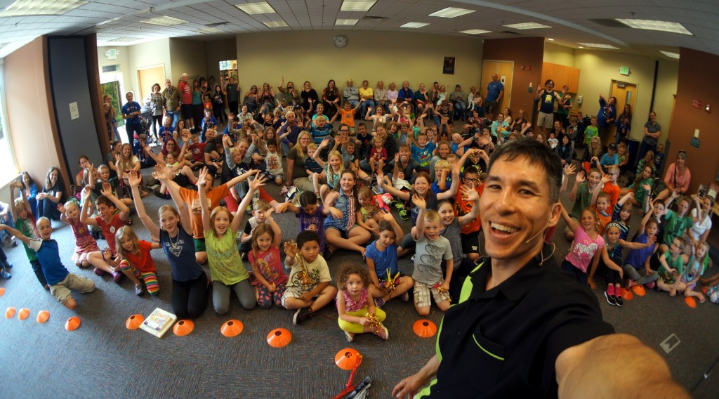 Magician Jeff Evans at one of his three shows for the Port Angeles Library