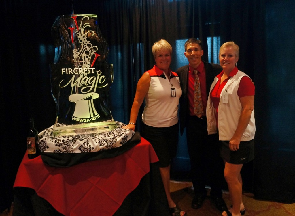 Fircrest Magic - Tournament Directors Alisa and Joyce with magician Jeff Evans