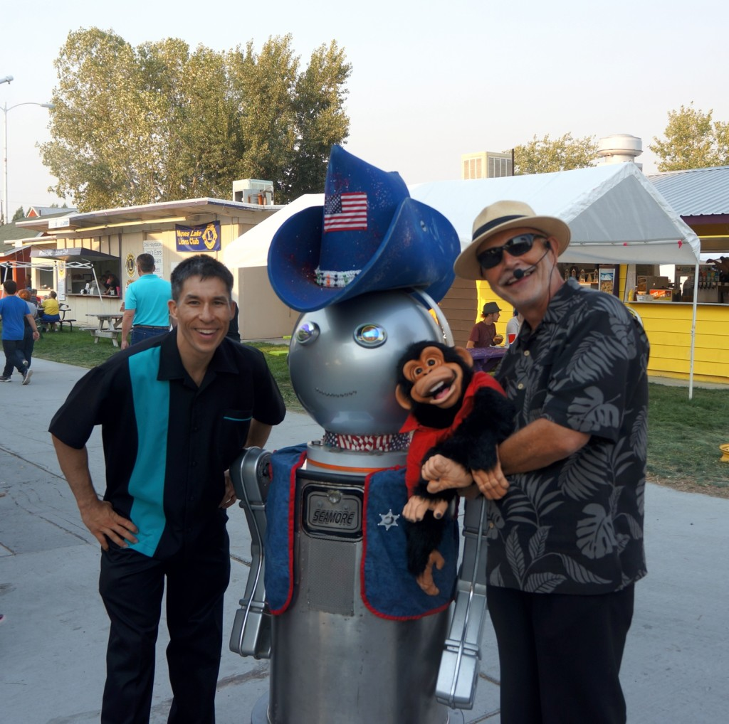 Jeff Evans, Jules with Atlas Robotics, and ventriloquist Jerry Breeden
