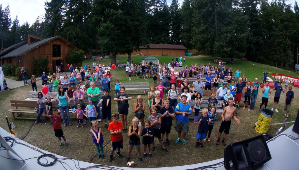 Look, another standing ovation!  Magician Jeff Evans performs for the Pierce County Fair in Graham.