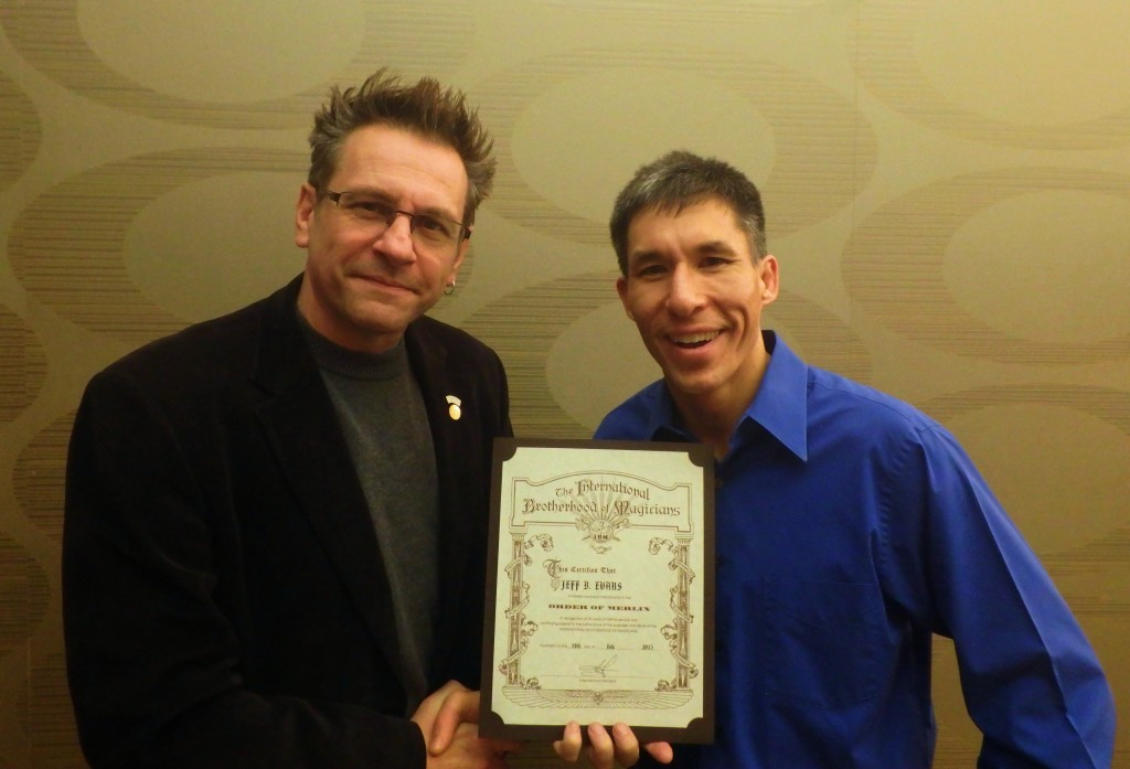 International Brotherhood of Magicians President Shawn Farquhar with Jeff Evans