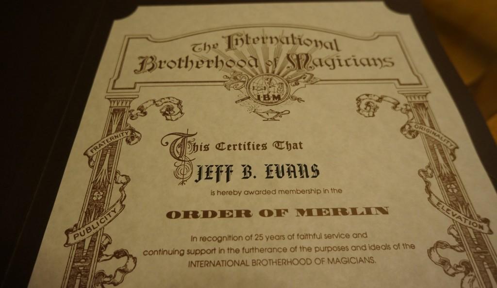 Order of Merlin certificate recognizing 25 years of membershipa