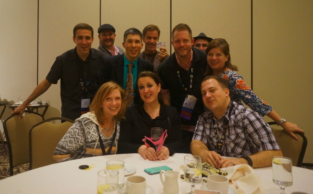 Trade show magician Jeff Evans and attendees at the CHART conference in Seattle