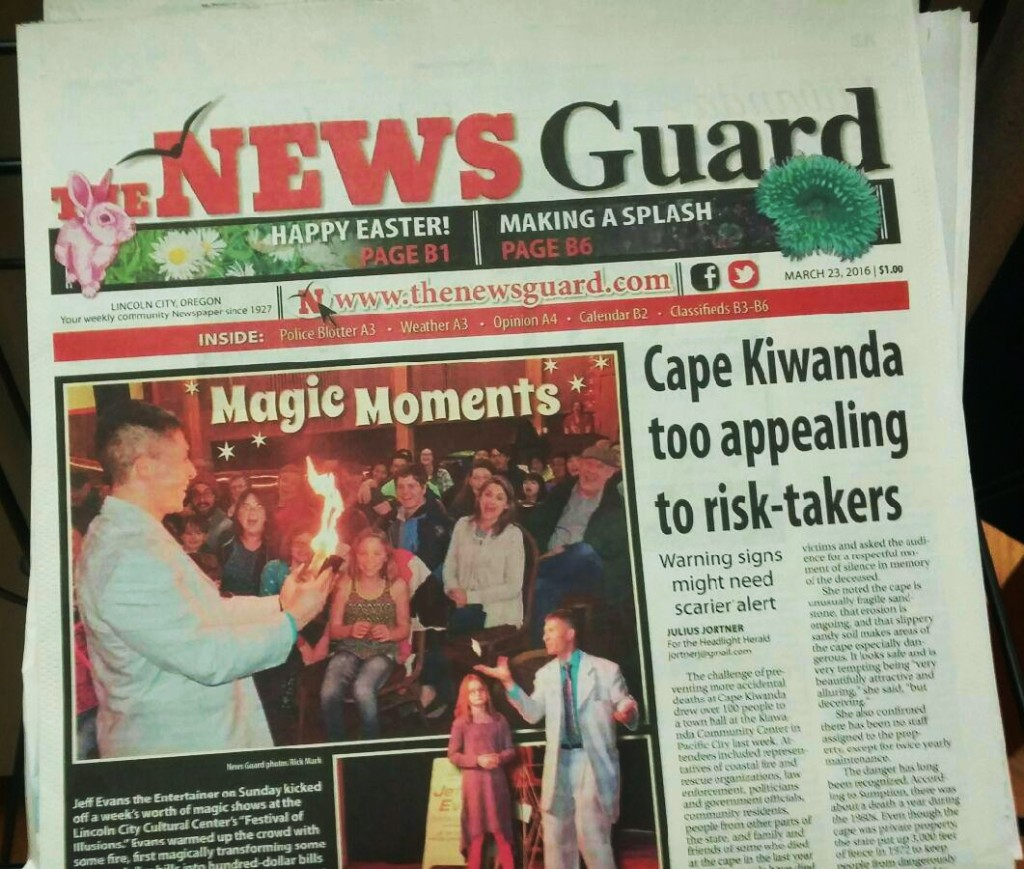 The News Guard featured magician Jeff Evans on the cover highlighting the Festival of Illusions