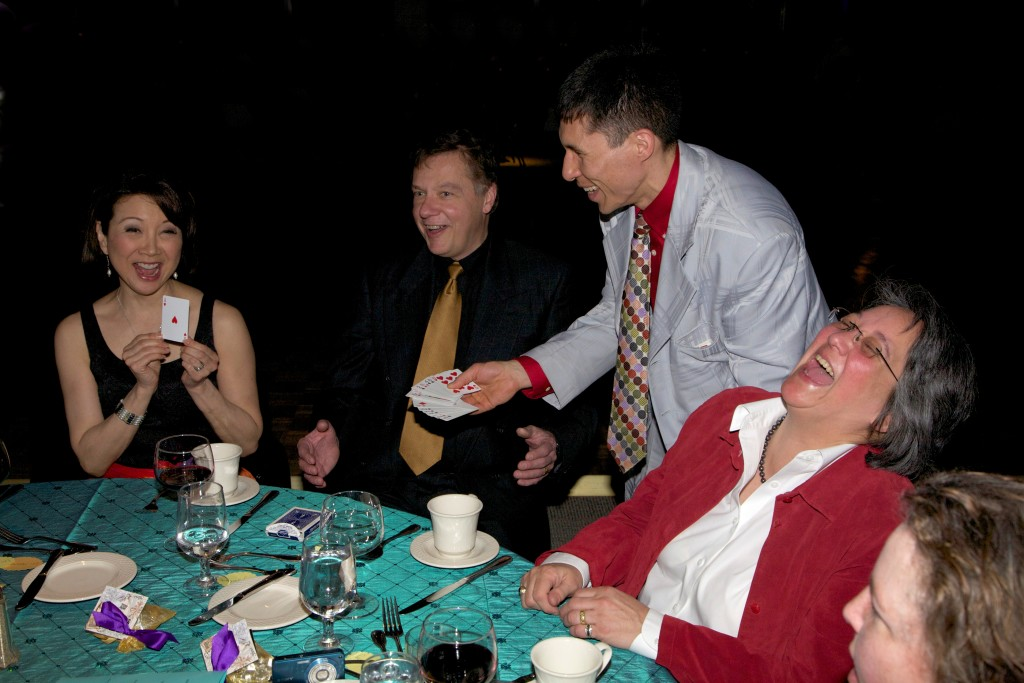 Tacoma-Seattle magician Jeff Evans performs close-up magic for a private party