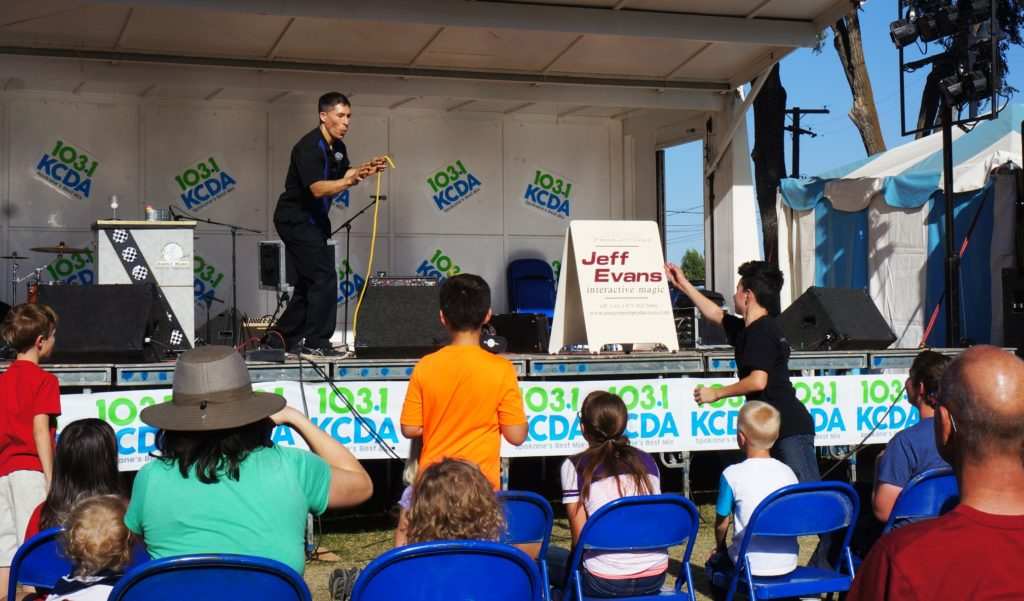 Spokane magician Jeff Evans entertains for the Interstate Fair