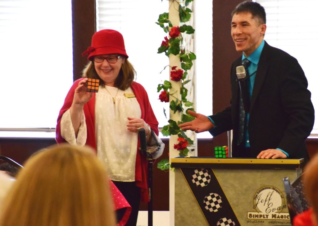 Federal Way magician Jeff Evans entertains for the Soroptimist Club of Federal Way