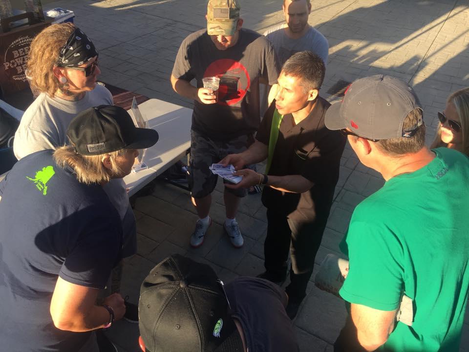 Auburn magician Jeff Evans performs close-up card tricks
