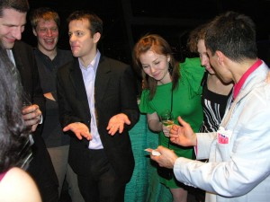 Jeff Evans amazes as he mingles with guests at the Seattle Space Needle