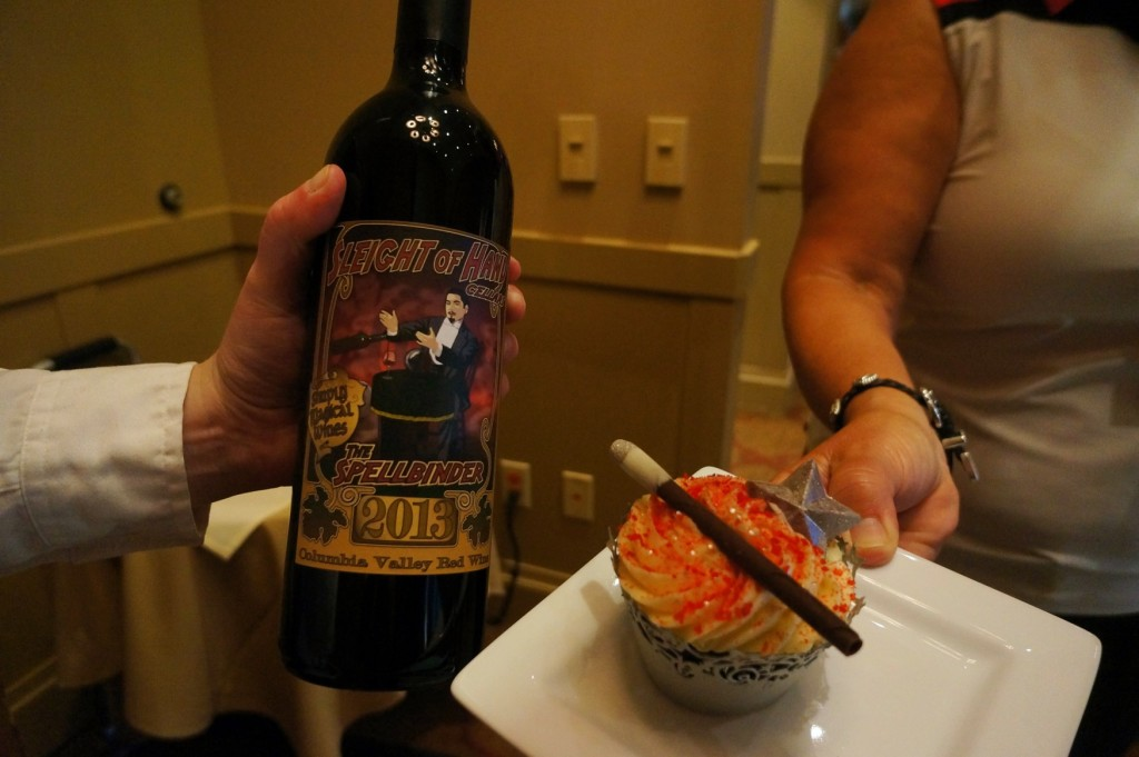 """""""Sleight of Hand"""" cellars wine paired with """"Magic Wand Cupcakes"""""""