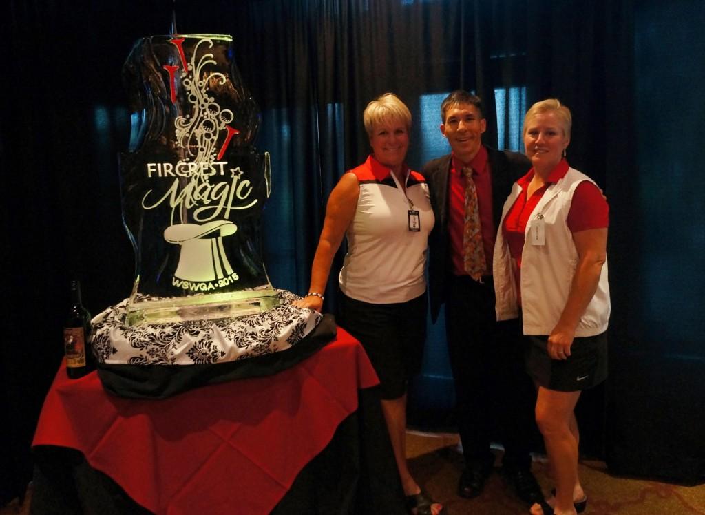 Fircrest Magic - Tournament Directors Alisa and Joyce with magician Jeff Evans