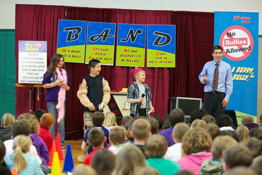 """Both Rick and Jeff present their own versions of """"No Bullies Allowed"""", one of our most popular school assembly programs""""No Bullies Allowed"""" is one of our most popular school assembly programs"""